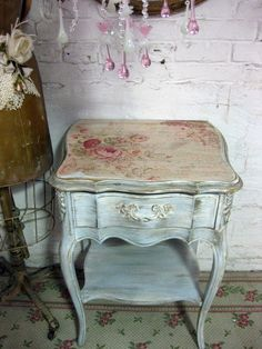 Really like the top of this table with the rest of the finish...Vintage French Provincial Blue Night Stand