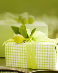 Sandra Kaminski  #gingham wrapping paper #immature lemon #citrus #antique silver tray #gift idea #wedding