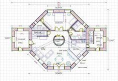 Straw bale house plan,1800 sq. ft.  Ground-level