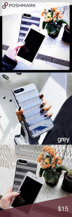 ‼️NEW ARRIVAL ‼️🆕 📱 7Plus Case Material:PC+TPU Pattern:Stripes  Feature:Luxury Glitter Stripe Pattern Function: Dirt-resistant,Shockproof Phone Model:For iPhone 7Plus Color:gray  Package : 1*phone case Accessories Phone Cases