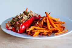 Three girls, one kitchen! ♥ : Wat eten we vandaag: Zalige zoete aardappelfriet met gevulde puntpaprika met tonijn