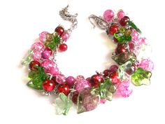 Pink chunky bracelet pink flower  bracelet  green by Jewelry2Heart