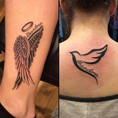 Angel wings tattoo - Most creative tattoo list Grandma Tattoos, Dad Tattoos, Love Tattoos, Body Art Tattoos, Small Tattoos, Tattoos For Women, Angel Tattoo For Women, Tattoos Skull, Tattoo Art