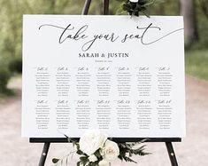 Seating Chart Template Editable Wedding Seating Chart | Etsy Wedding Programs, Wedding Signs, Wedding Invitations, Seating Chart Wedding Template, Seating Charts, Menu Cards, Table Cards, Thank You Tags, Wedding Seating