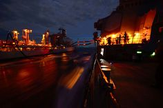 170505-N-HE318-106 SEA OF JAPAN (May 5, 2017) The forward-deployed Arleigh Burke-class guided-missile destroyer USS Fitzgerald (DDG 62) conduct a night replenishment-at-sea (RAS) with the Henry J. Kaiser-class underway replenishment oiler USNS Pecos (T-AO-197). Fitzgerald is on patrol in the U.S. 7th Fleet area of operations supporting security and stability in the Indo-Asia-Pacific region. (U.S. Navy photo by Mass Communication Specialist 2nd Class William McCann/Released