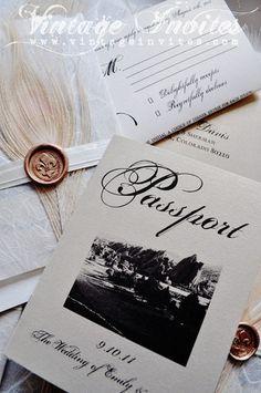 The Emily Colorado Canyon Vintage Passport Wedding Invitation