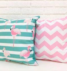 almofadas flamingo chevron - decoração pró verde custom