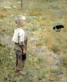Boy with a crow Akseli Gallen-Kallela (1865 – 1931, Finnish)
