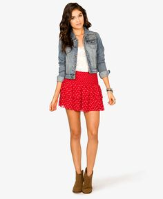 Dotted Arrowhead Tiered Skirt   FOREVER21 - 2021708748