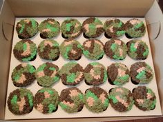 party cupcakes | Camouflage chocolate cupcakes for a 12 year old boys birthday.