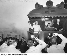 President Truman's Train and Crowd at Union Station, Terre Haute, Indiana 1948