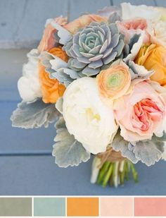 Blush cream apricot and gray bouquet with peonies and succulents