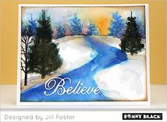 VIDEO tutorial: Creating a winter watercolor scene with Penny Black stamps and Creative Die sentiment