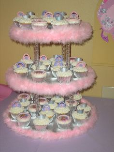 Barbie Cupcakes and cake stand via Cake Central