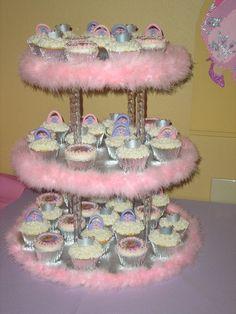 Barbie Cupcakes and cake stand via Cake Central