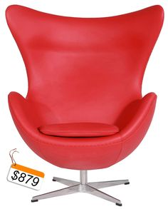 Red Italian Leather Egg Chair And Ottoman