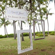 Set two frames up outside your ceremony or on the way in to the reception. Hang a sign up to commemorate your special day and your guests can take pictures in the frames! This is a great idea for a special keepsake for your guests.