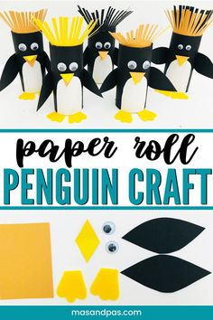 In a few minutes your child can transform a humble paper roll into one of these utterly adorable rockhopper penguins. Enjoy this fab penguin craft for kids. Preschool Arts And Crafts, Animal Crafts For Kids, Holiday Crafts For Kids, Craft Projects For Kids, Toddler Crafts, Kids Crafts, Cardboard Tube Crafts, Toilet Paper Roll Crafts, Craft Stick Crafts