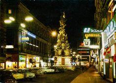 Austria - Vienna [012] - 1962 - front | Postcard from Austria / Österreich, Vienna / Wien, featuring VW Beetle / Käfer, OPEL Rekord P2 (x2) + Rekord A + Kapitän, PEUGEOT 404 and others Vw Beetles, Vienna, Peugeot, 1960s, Travelling, Germany, World, Heart, Places