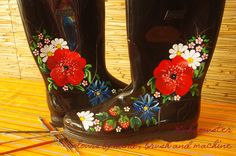 #handmade #black boots handpainted  rubber boots, inspired from Muhu etno patterns