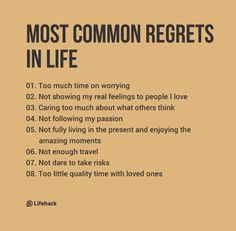 Most Common Regrets People Have In Life Most Common Regrets People Have In Life,Motivation Everyone only gets one chance to live. Any regrets you have already? Motivacional Quotes, Wisdom Quotes, Life Quotes, Happy Quotes, People Quotes, Self Improvement Tips, Life Advice, Relationship Advice, Change Quotes