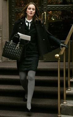 Lorick cape.  Diane Von Furstenberg suit.  Robert Clergerie shoes.  Lady Dior bag. Gossip Girl