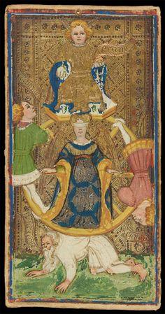 The Wheel of Fortune | Bonifacio Bembo for Visconti-Sforza Family | Medieval Tarot Cards | ca. 1450 | card no. 9 | The Morgan Library & Museum
