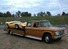 1970 Dodge D300 Race Car Hauler With Lola along for the ride