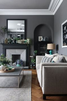 Before & After: This Living Room Goes From Chintzy Dreamland to Dark, Cozy and Contemporary - Living Rooms Design Living Room, Family Room Design, Living Room Styles, Dark Living Rooms, Home Living Room, Modern Living, Living Room Ideas Grey And Blue, Cosy Living Room Decor, Charcoal Living Rooms