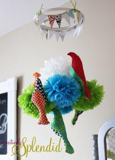 DIY--one way to hang baby pom pom mobile