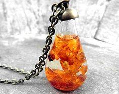 Real DANDELION SEEDS tube necklace. Horizontal by VillaSorgenfrei