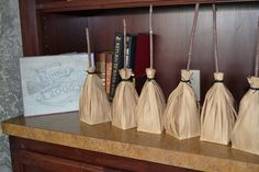 Favors Idea: broom goodie bags made from paper lunch sacks