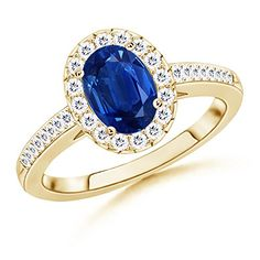 AAA Quality Halo Oval Blue Sapphire and Round Diamond Ring in 14k Yellow Gold