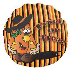 Trick or Treat Pumpkin Stripes Round Pillow (pinned by haw-creek.com) (https://twitter.com/HawCreekShop/status/518499455893798912)