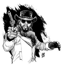-Django -Cameron Stewart spectacular illustrator, wonderful mix of black and white control and crosshatching shading White Art, Black Art, Character Art, Character Design, Character Reference, Django Unchained, Western Comics, Desenho Tattoo, Comic Artist
