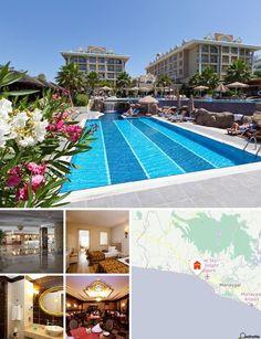 L'hôtel est situé au bord de la plage à Colakli/Evrenseki, non loin de la ville historique de Sidé (10 km) et de Manavgat (12 km), une ville célèbre pour ses cascades. Il y a également des restaurants, des bars et des établissements nocturnes à 10 km, dans le centre touristique de Sidé. Compter 65 km pour rejoindre l'aéroport d'Antalya.