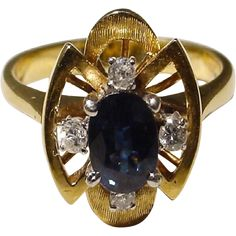 Blue Sapphire Lady's Ring with Diamonds 14KT Yellow Gold -- Beautiful and Artful