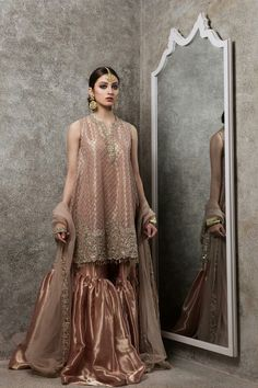 "Our ""ZAIB"" Collection brings you a modern update on the refined craftsmanship that is a cornerstone of Mughal Era Bridals. The minimal yet intricate details and subdued color palette make it the perfect fit for the woman. #Gorgeous #Traditional #ZaraShahjahanBride #NehaRajpoot #Unique #Inspiration #Embellished #BridalCouture #Fashion #Trends #2017 #PakistaniCouture #PakistaniFashion #PakistaniModels #PakistaniCelebrities ✨"