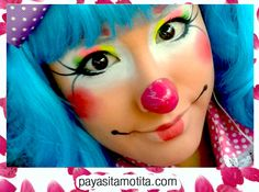 payasitamotita.com Contrataciones: 6621 96 18 72 Maquillage Halloween Clown, Halloween Makeup, Face Painting Designs, Body Painting, Mime Face, Cute Clown Makeup, Clown Hair, Clown Face Paint, Clown Party