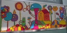 Doodle Art Drawing, Wall Drawing, Drawing For Kids, Art For Kids, Kids Wall Murals, Mural Art, Wall Art, Art Classroom Decor, Preschool Decor
