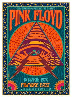 psychedelic PINK FLOYD Poster at the Fillmore East 1989 with very inspiring illustration. Rock Posters, Phish Posters, 80s Posters, Hippie Posters, Art Deco Posters, Poster Wall, Poster Prints, Poster Collage, Gig Poster