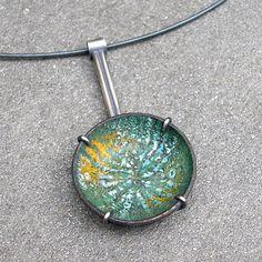 lsueszabo - Enamel Necklace  Enamel Pendant  Green Enamel Necklace #etsymetalteam