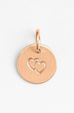 Double heart stamp charm in rose gold