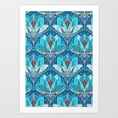 A little bit decorative with an art nouveau feel, I think. : ) <br/> <br/> teal, black, blue...