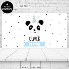 The little Panda Party, Panda Party Printable Backdrop | Instant Download | Edit with Adobe Reader