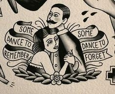 Traditional tattoo. Flash art. Lovers. Dance to remember. Dance to forget.