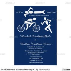 Triathlete Swim Bike Run Wedding Announcement 2 Personalize this unique invitation for your triathletes wedding invitation ! It features a swimmer in the water, a cyclist and a runner with a blue background and light grey text. Great for a male or female athlete, personal trainer or coach who loves to swim bike and run !