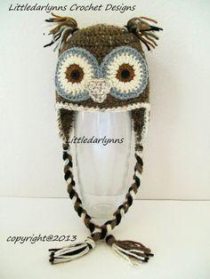 Crochet Brown Owl Hat Baby Toddler Childrens Adult Bird Hat Beanie Ear Flaps braids Photo Prop