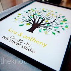 """Guests left thumbprints as """"leaves"""" on this poster-size tree guest book."""