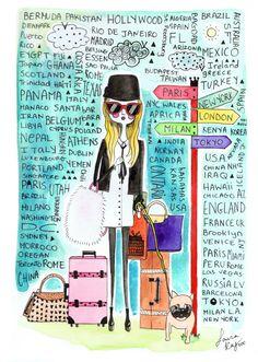 fashion illustration, fashion print, fashion art, ink drawing, quirky print, ink drawing